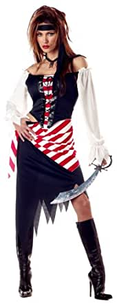 California Costumes Women's Adult-Ruby, The Pirate Beauty, Black/Red/White, S (6-8) Costume