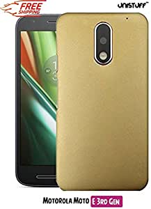 Unistuff™ Matte Hard Shell Frosted Ultra Thin Bumper Back Case Cover for Motorola Moto E (3rd Generation) (Golden)