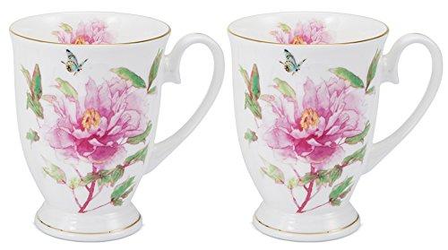* Pink Carnation Coffee Tea Mug Set Of 2, New Bone China