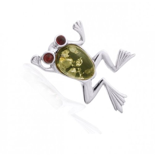Timeless Amber, Honey & Green Frog Pin, .925 Sterling Silver