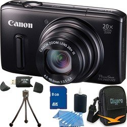 Canon PowerShot SX260 HS 12.1 MP CMOS Digital Camera with 20x Image Stabilized Zoom 25mm Wide-Angle Optical Lens and 1080p HD Video Super Bundle Includes Camera 16 GB Memory Card, Card Reader, Battery Pack, Carrying Case, Mini Tripod, and More.