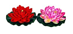 Orchard Floating Lotus Flower Pink and Red (Set of 2 )(K691 )