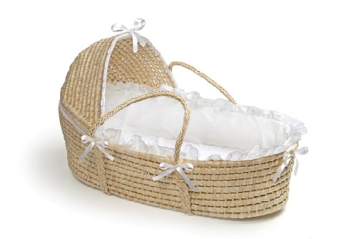 Sale!! Badger Basket Moses Basket with Hood and Bedding, Natural/White