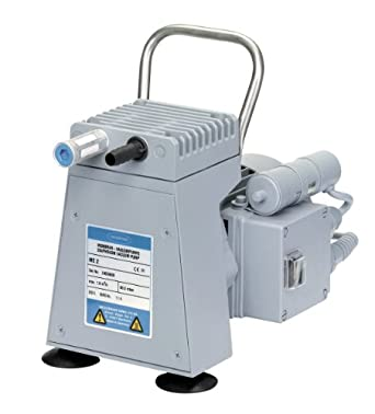 "BrandTech 696123 PTFE ME2 Diaphragm Vacuum Pump with US Plug, 120V Power Supply, 1.29cfm Pumping Speed, 6.46"" Width x 7.40"" Height x 10.83"" Depth"