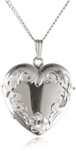 Sterling Silver Engraved 4-Picture Heart Locket, 20