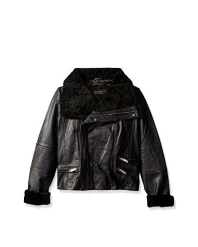 Badgley Mischka Women's Samara Shearling Collar Leather Jacket