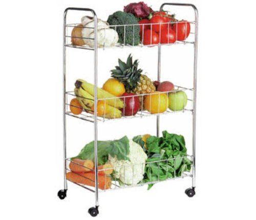 3 Tier Kitchen Chrome Trolley Vegetable Storage Rack
