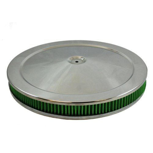 "Green Filter 2342 Chrome High Performance Air Cleaner Assembly for 2"" Filter"