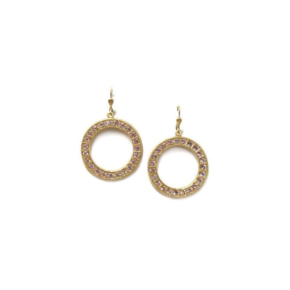 14K Gold Plated Swarovski Crystal Open Hoop Dangle Earrings Jewelry
