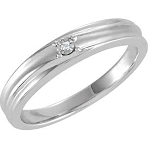 IceCarats Designer Jewelry Sterling Silver Wedding Band Ring. Size 7 .01Ctw Dia Wedding Band Ring