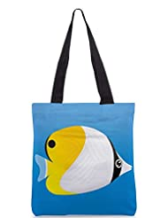 Snoogg A Vector Illustration Of A Yellow Designer Poly Canvas Tote Bag