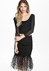 Qurves-Black Long-sleeve Top and Dot Tulle Hemmed Skirt