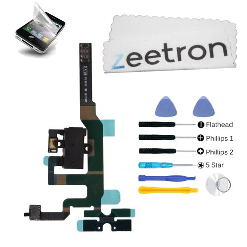 Zeetron© Iphone 4S Headphone Audio Jack Flex Cable Black + 7 Piece Opening Tool Kit + Zeetron Microfiber Cloth (9 Piece Kit)