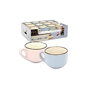 """4.25""""D Jumbo Size Two Tone Coffee Cup/Soup Cup (Beige)"""