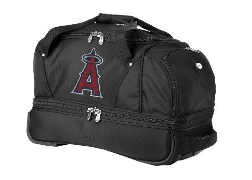 mlb-los-angeles-angels-denco-22-inch-drop-bottom-rolling-duffel-luggage-black
