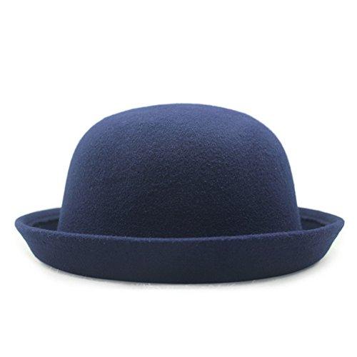 HH HOFNEN Fashion Vintage Unisex Headwear Roll Brim 100% Wool Bowler Hats Billycock Cloche Fedora Hat Cap (Navy) (Bowler Hat Blue compare prices)