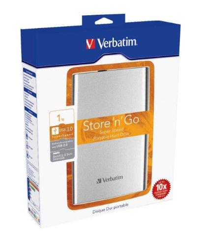 Verbatim 53032 1TB Store n Go USB 3.0 2.5 Inch External Hard Drive Silver