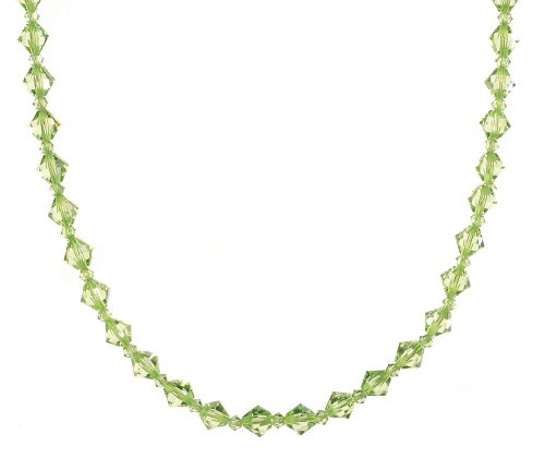 Sterling Silver Swarovski Elements 6mm and 3mm Peridot Colored Bicones Necklace, 16