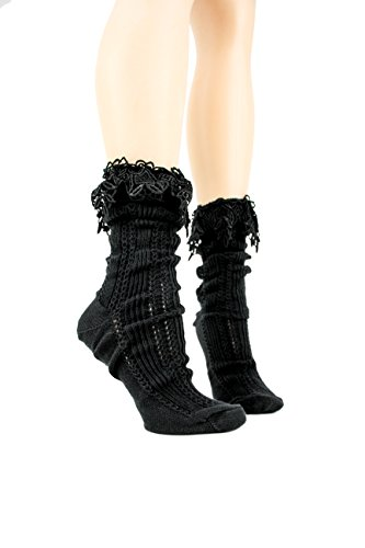 Vintage Look Lace Slouch Socks by Foot Traffic in Black (Feet Lace compare prices)