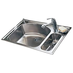 American Standard 7504.103.075 Culinaire 33-Inch Top Mount Single Hole Dual Level Kitchen Sink, Stainless Steel