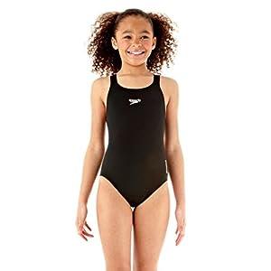 "Speedo Girls' Essential Endurance + Medalist  Swimsuit - Black, 24"""