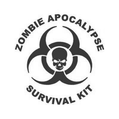 White Color Zombie Apocalypse Survival Kit Sticker Macbook Helmet Adhesive Vinyl Car Decoration Auto Bike Wall Art Die Cut Home Decor Car