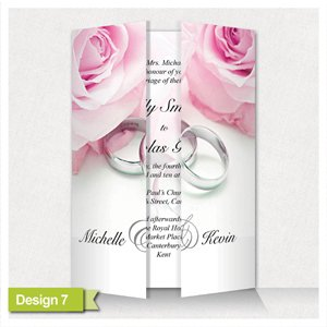10 Personalised Wedding Invitations * Gatefold with Ribbon on Luxury Pearl card* GF7
