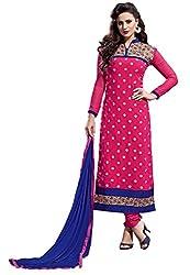 RK Exports Dark Pink Dress Material
