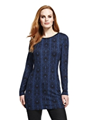 M&S Collection Faux Snakeskin Block Print Tunic