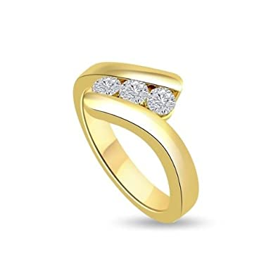 0.30ct H/SI1 Diamond Trilogy Promise Ring for Women with Round Brilliant cut diamonds in 18ct Yellow Gold