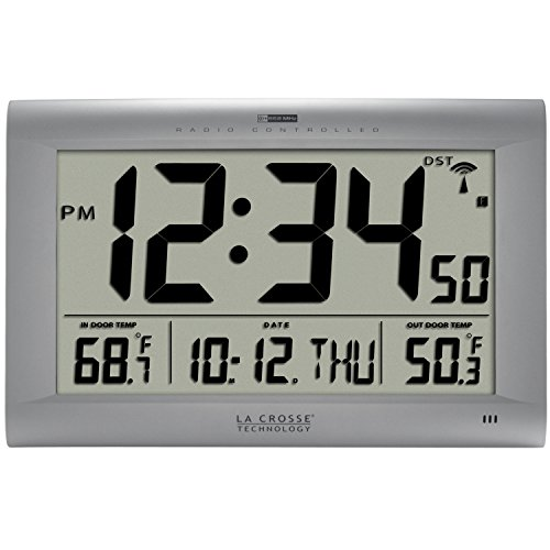 La Crosse Technology 513-1311OT Jumbo Atomic Digital Wall Clock with Outdoor Temperature, Silver (Outdoor Digital Clock compare prices)