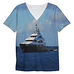 Snoogg White Boat In Blue Water Mens Casual V Neck All Over Printed T Shirts Tees