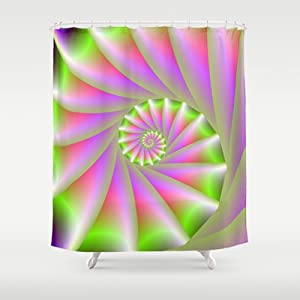 Society6 Pink And Green Spiral Shower Curtain By Objowl Home Kitchen