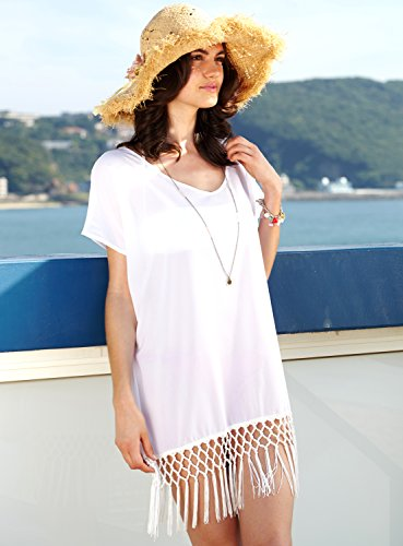 97aa035ca MG Collection® White Chiffon Fringe Flowy Beachwear Bikini Swimsuit Cover Up