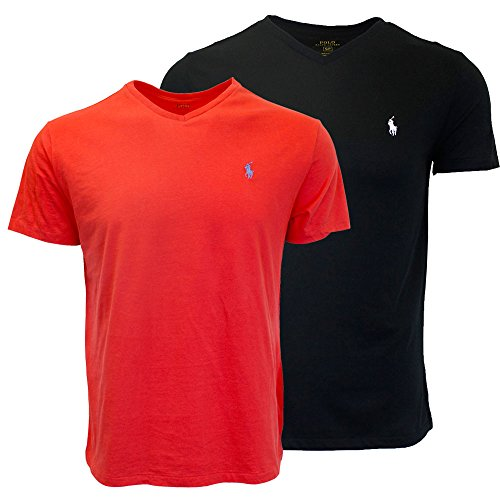Polo Ralph Lauren Men's V-Neck T-shirt Bundle 2016 model (2pk) (X-Large, Black/Red)
