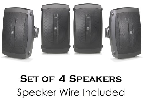 """Yamaha All Weather Indoor & Outdoor Wall Mountable Natural Sound 130 Watt 2-Way Acoustic Suspension Speakers (Set Of 4) Black With 6.5"""" High Compliance Woofer, 1"""" Pei Dome Tweeter & Wide Frequency Response + 100 Ft 16 Gauge Speaker Wire - Compatible With"""