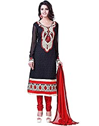 Lookslady Brand Women's Faux Georgette Black Semi Stitched Salwar Kameez Dupatta Suit | Quality Checked | Genuine Product | Not a ready made dress