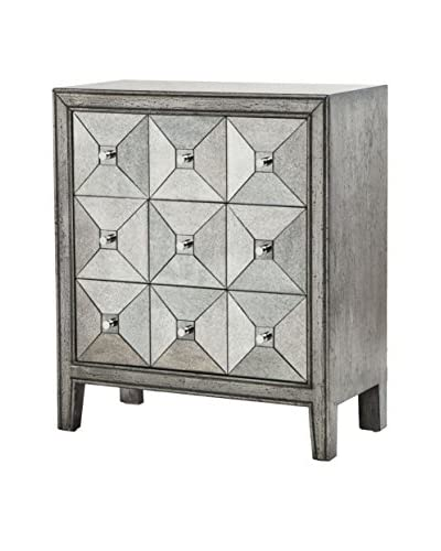 Luxury Home Artisan Antiqued Mirror Chest, Silver