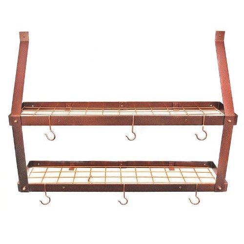 Golda's Kitchen Pot Rack - Wall - 2 shelves - Hammered Copper