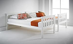 Atlantis PINEWOOD White Bunk Bed, Two Sleeper, Quality Solid Pine Wood BUNK BED with 2 POCKET SPRUNG MATTRESSES