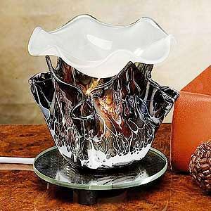 "Electric Oil Burner Marble Grain Tulip, Black 35 Watt Halogen Bulb With Dimmer Switch 4 3/4""H"
