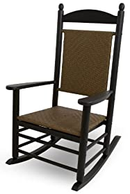 Fresh POLYWOOD Outdoor Furniture Kennedy Rocker with Tiger Weave Black Recyled Plastic Materials Discontinued