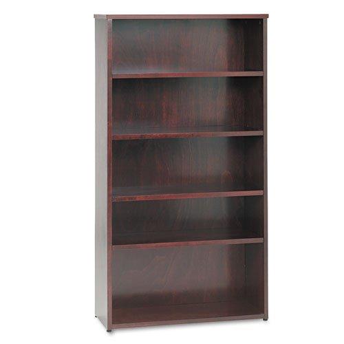 HON BW Wood Veneer Series Five-Shelf Bookcase, 35-5/8w x 13d x 66h, Mahogany - BMC-BSX BW2193NN Basyx 3 Shelf Bookcase
