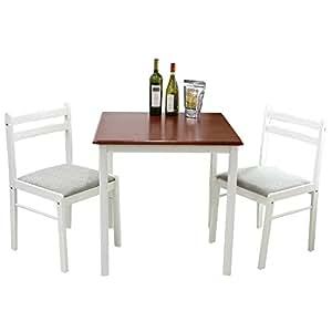 UNE BONNE(ウネボネ) シンプルデザイン オリジナル ダイニングセット 2人用 3点セット ダイニングテーブル WHITE