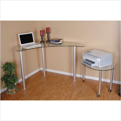 RTA Home And Office Tier One Designs Clear Glass Corner Computer Desk