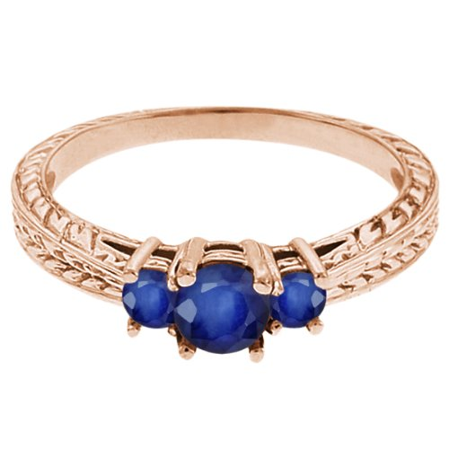 0.62 Ct Round Blue SI1/SI2 Sapphire 14K Rose Gold 3-Stone Ring