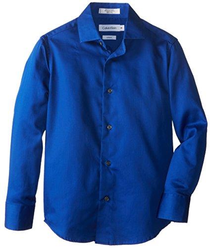 Calvin Klein Big Boys' Ck Sateen Hanging Dress Shirt, Dark Blue, 20