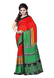 Bansy Fashion Red Coloured Faux Georgette Printed Saree/Sari
