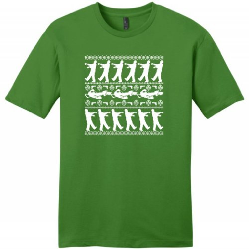 Zombie Ugly Christmas Sweater Young Mens T-Shirt X-Large Kiwi Green