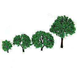 Generic 4pcs 1.57 Inch - 3.94 Inch Scenery Landscape Model Trees